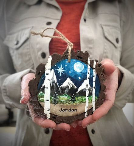 Hand Painted Mountains Ornament with Aspen Trees