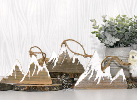 Wood Snow Capped Mountain Ornament - Linda Fehlen Gallery