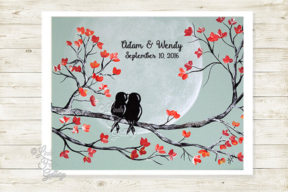 Mint and Coral wedding gift art print