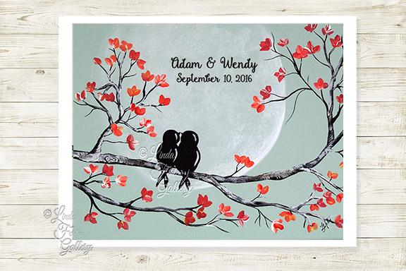 Personalized Coral and Mint Wedding Gift - Art Print with Love Birds - Linda Fehlen Gallery