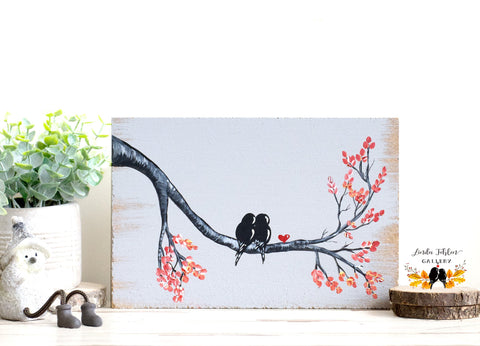 5th Anniversary Gift with Love Birds in a Tree - Linda Fehlen Gallery