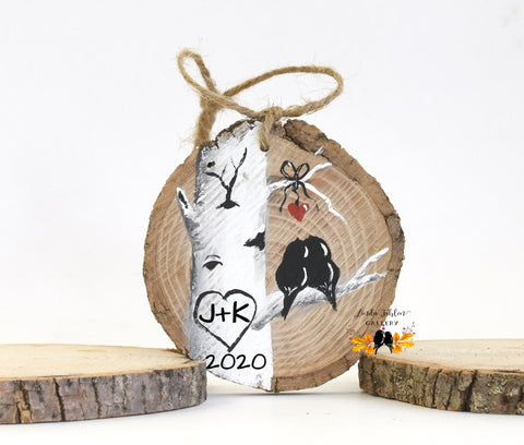 Personalized Ornament Painted with Colorado Aspen Tree and Initials in Heart - Linda Fehlen Gallery