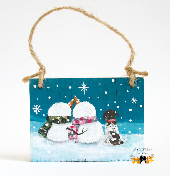 Snowman Couple with Dog Christmas Ornament - Linda Fehlen Gallery