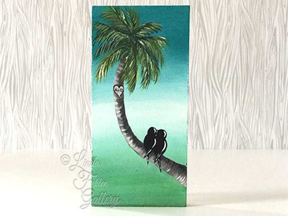 Tropical Love Birds Painting / Palm tree Painting / Beach Themed Art