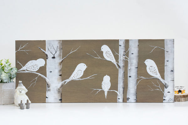 Original Painting of Love Birds in a Tree with Yellow and Gold Leaves on a Light Gray Background - Linda Fehlen Gallery