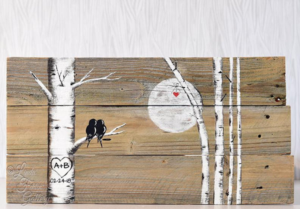 Rustic Love Birds in Colorado Aspen Tree Painting on Reclaimed Wood - Linda Fehlen Gallery