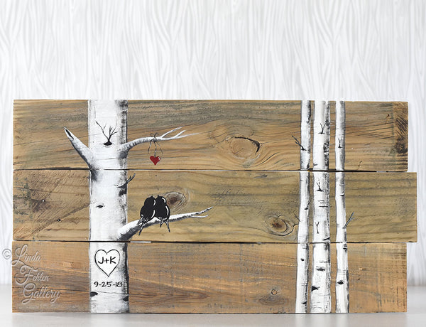 Rustic Farmhouse Style Love Birds in Birch Tree Painting on Reclaimed Wood