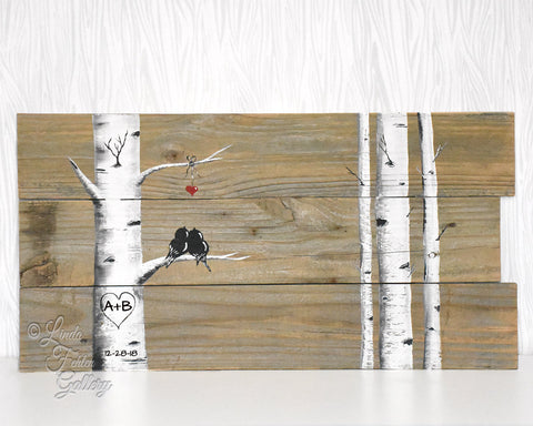 birch tree painting for 5 year anniversary