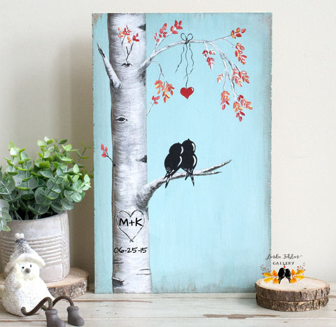 Black Love Birds Painting on Wood  - A Perfect 5th Anniversary Gift! - Linda Fehlen Gallery