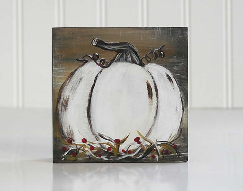 White Pumpkin Art Block Shelf Sitter - Fall Mantle Decoration - Linda Fehlen Gallery