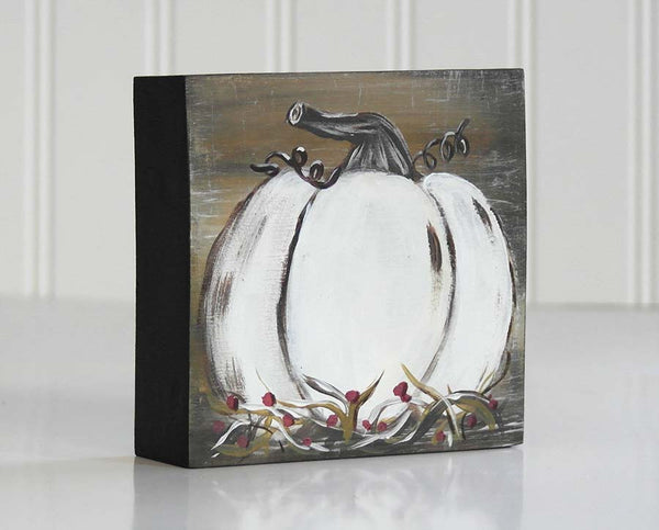 White Pumpkin Art Block Shelf Sitter - Fall Mantle Decoration