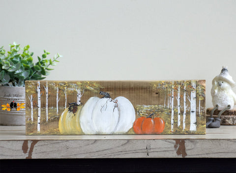 Pumpkin and Birch Trees Wood Decor - Linda Fehlen Gallery