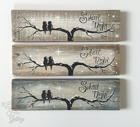 Love Birds on a Silent Night -  Reclaimed Wood Sign