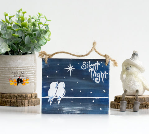 Silent Night Love Birds Rustic Ornament - Linda Fehlen Gallery