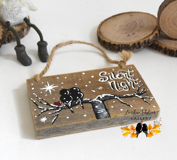 Silent Night Rustic Wood Christmas Ornament - Linda Fehlen Gallery