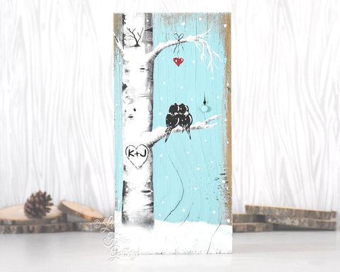 snowy aspen tree painting on wood