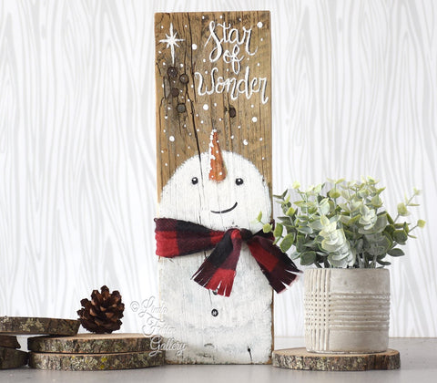 Cute Snowman with Buffalo Plaid Scarf - Great Gift for a Friend with Free Shipping - Linda Fehlen Gallery