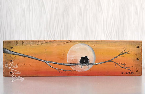 Family of Birds on tree branch with Moon / Sunset colors - Linda Fehlen Gallery
