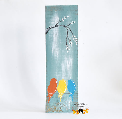 Mother's Day Gift, Three Little Birds Painting - Linda Fehlen Gallery