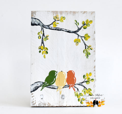 Mother's Day Gift, Three Little Birds Painting on Reclaimed Wood - Linda Fehlen Gallery