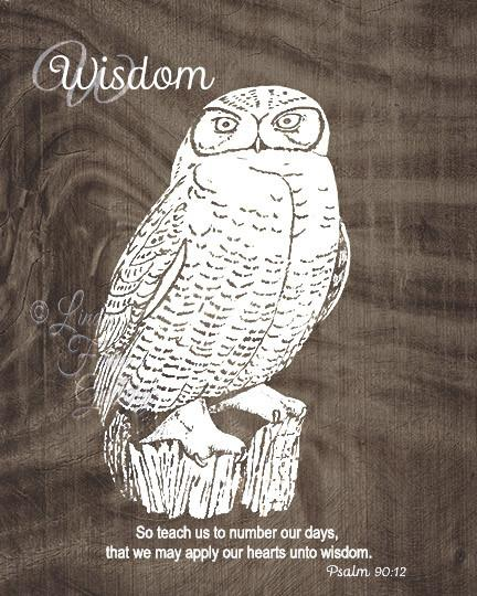 Owl Print with Wisdom Quote - Bible Verse Psalm 90:12 - Linda Fehlen Gallery