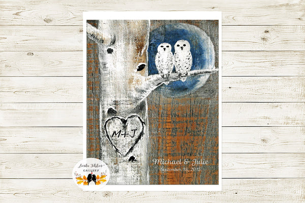 Personalized Snowy Owls Art Print with Initials in Heart on Birch Tree | 1st Anniversary Gift - Linda Fehlen Gallery