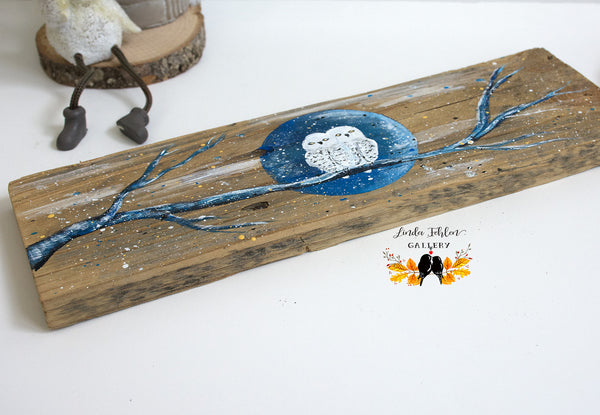 White, Snowy Owls Wood 5th Anniversary Gift - Linda Fehlen Gallery