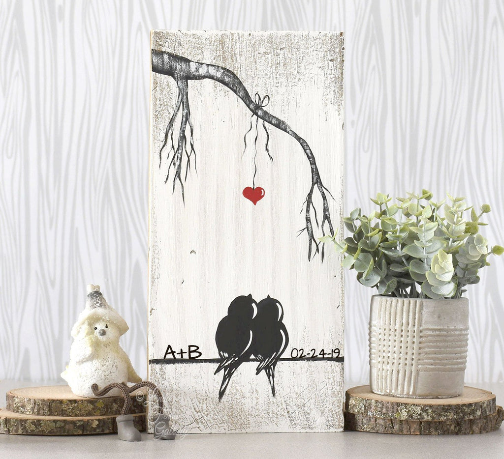 Wood Wedding Gift for Couple with a pair of Love Birds - Linda Fehlen Gallery