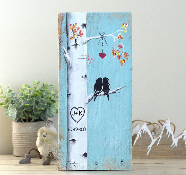 Personalized 5th Anniversary Gift - Original Painting of Love Birds in Birch Tree - Linda Fehlen Gallery