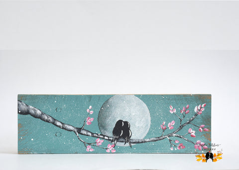 bird couple with moon painting