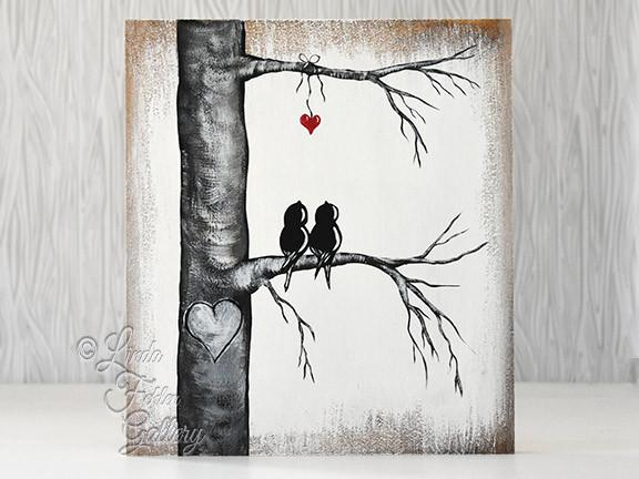 love birds painting in aspen tree