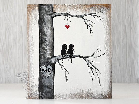 Wood Painting of Love Birds in a Tree