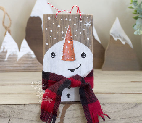 Unique Snowman Ornament with Buffalo Plaid - Linda Fehlen Gallery - Linda Fehlen Gallery