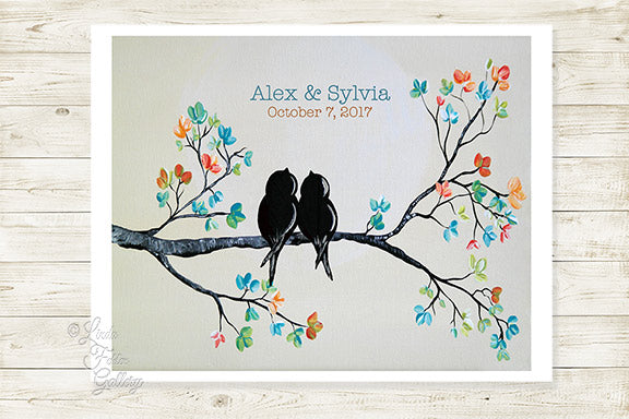 Personalized Wedding Gift for Couple  - Colorful Art Print with Love Birds on a Branch - Linda Fehlen Gallery