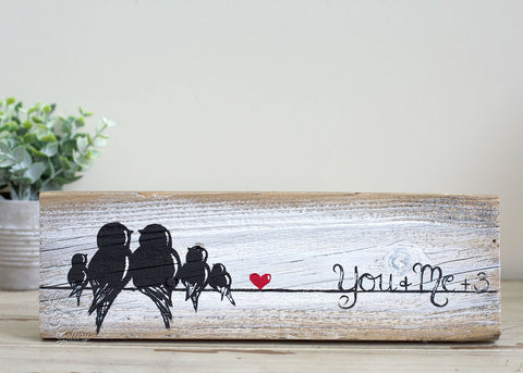 Family of Five Wood Wall Decor - Farmhouse Style Love Birds Painting on Rustic Wood - Linda Fehlen Gallery