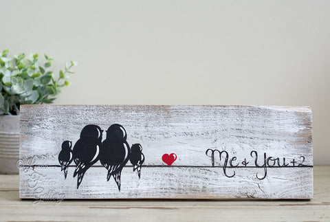Family of Four Gallery Wall Art - Farmhouse Style Love Birds Painting on Rustic Wood - Linda Fehlen Gallery