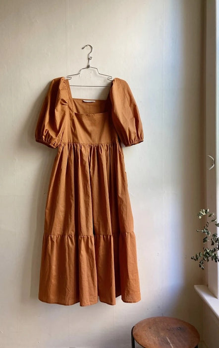 Bronze Age Serenity Puff Sleeve Dress in Cinnamon