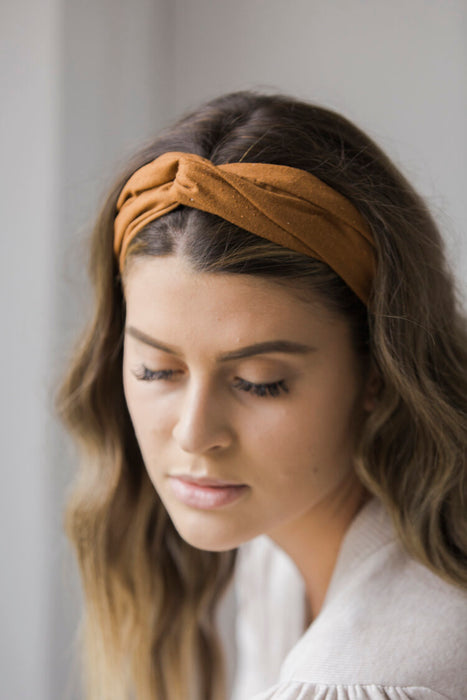 Charlie & Paisley Ethel Headband in Rust Silk