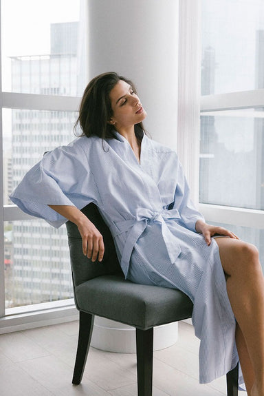 The Sleep Shirt Cotton Robe in Blue Oxford Stripe