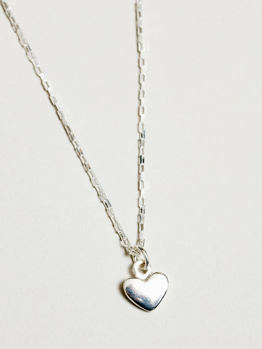 Wolf Circus Heart Charm Necklace in Silver
