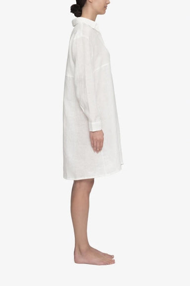 The Sleep Shirt Button Down in White Linen