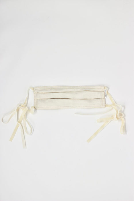 Charlie & Paisley Wilma Face Mask in Ivory with Ivory Velvet Ribbon
