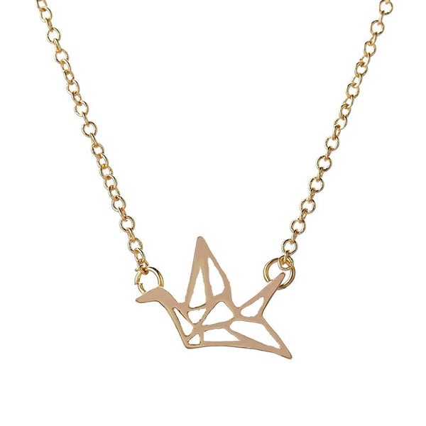 Origami Crane Necklace - 18K Gold Plated - trendiU - 1