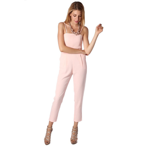 Pink spaghetti jumpsuit with square neckline