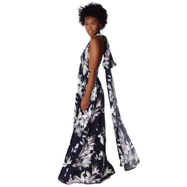 Navy blue cross back maxi dress in floral print