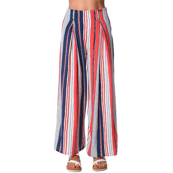 Red wide leg pants in stripe with belt