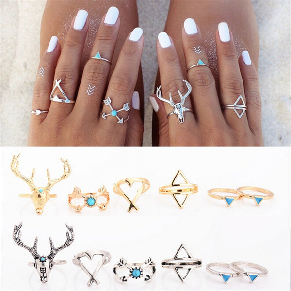 Bohemian Deer Antler Arrow Knuckle Ring Set (6pcs) -  - trendiU - 1