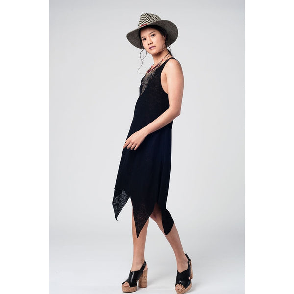 Black Sun Dress With Dipped Hem