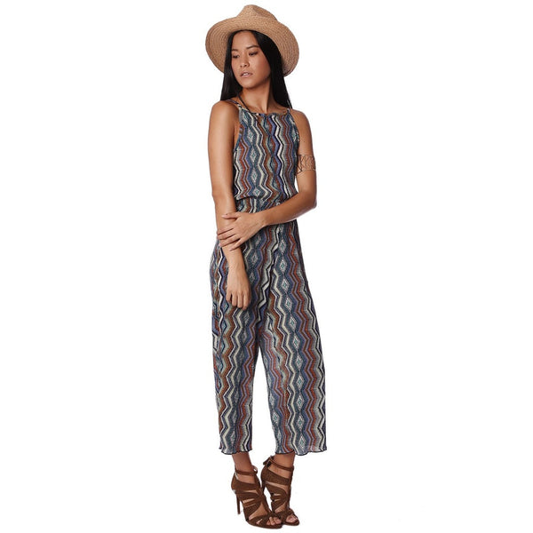 Green rib jumpsuit with tribal print