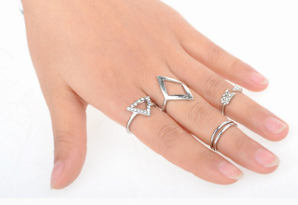 Rhinestone Triangle Arrow Ring Set (5pcs) - Silver - trendiU - 1